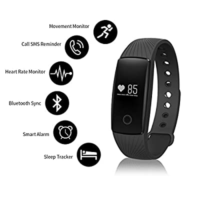 RIVERSONG Updated Version V05 Fitness Tracker Waterproof Heart Rate Tracking Smart Bracelet Pedometer Activity Monitors Sleep Calorie Tracking Wristband for Halloween Present