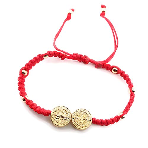 LESLIE BOULES St Benedict Red String Woven Bracelet Adjustable Protection Jewelry
