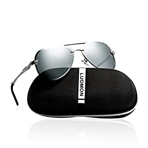 LUOMON Men's Polarized Aviator Sunglasses Metal Silver Frame/Silver Mirrored Lens with Al-Mg Aloy Temple LM007