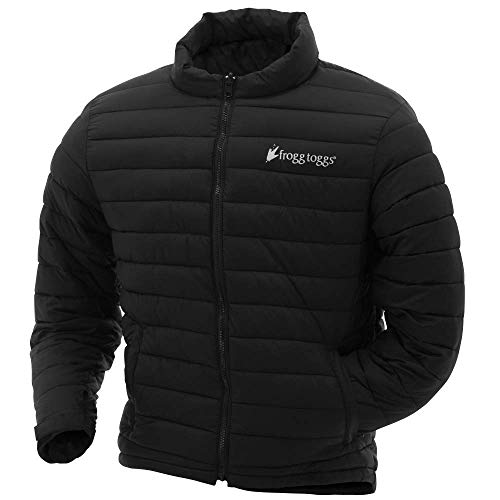 Frogg Toggs Co-Pilot Insulated Puff Jacket, Water Resistant, Black & Reversible Camo, Compatible w/ Frogg Toggs Pilot II Series Jackets