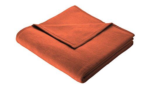 Biederlack Wohn- und Kuscheldecke, 100 % Baumwolle, Samtband-Einfassung, 150 x 200 cm, Terra, Cotton Pure, 531155