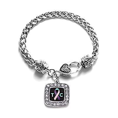 Thyroid Cancer Awareness Classic Silver Plated Square Crystal Charm Bracelet hot sale