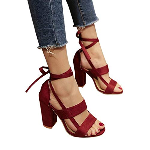 Sandals THENLIAN Women Suede Cross Straps Sandals Ankle High Heels Block Party Open Toe Shoes(35, Wine) ()