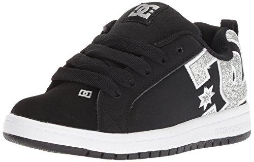 DC Kids' Youth Court Graffik Skate Shoe, Black/Silver, 1 M US Little (Court Kids Skateboard Shoe)