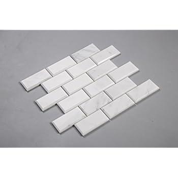 quality beveled subway tile   Bianco Venatino Marble 2X4 Deep - Beveled & Polished ...