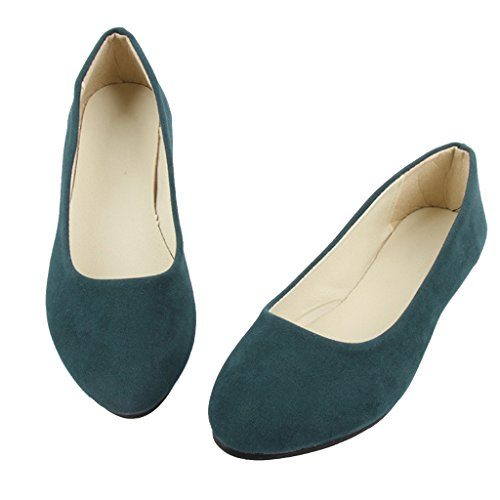 On Pointed Time Toe Ballet Women Shoes Green Flat Flats Dark Slip Comfortable Dear RnYxqS0waq