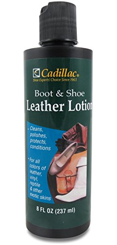Cadillac Boot And Shoe Leather Lotion 8 Fl Oz   Conditions  Cleans  Restores  Protects And Polishes All Colors Of Leather   Works On Footwear  Furniture  Handbags  Jackets  Wallets And More