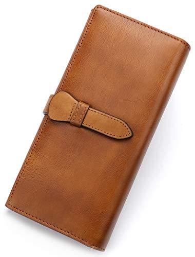Genuine Leather Wallet Women long Purse Clutch vintage cowhide handmade Card Holder Organizer (Brown)