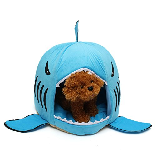 UpToYou Pet Bed Cave Cute Shark Mouth Washable # Blue