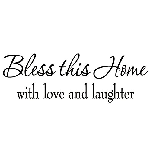 Crystal Emotion Bless This Home with Love and Laughter Religious Sayings Vinyl Wall Art Decor Home Blessing sticker