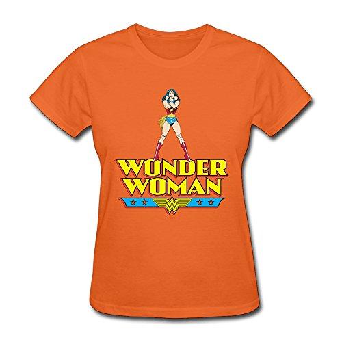 AOPO Wonder Woman WW LOGO T-shirt For Women X-Large Orange