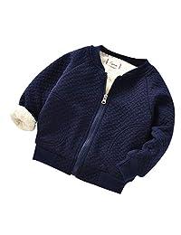 Pollyhb Baby Girls Boys Coat, Infant Toddler Baby Solid Zip Warm Winter Tops Jacket