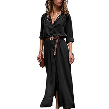 Zehui Vestido de Banquete de Manga Larga, Vestido Largo de Moda de Las Mujeres, Vestido de la Camisa de Ocio 2018 últimos moldes M Negro: Amazon.es: Hogar