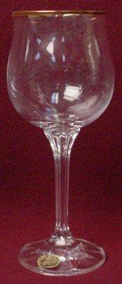 - Bohemia Fine Lead Crystal Geneve Pattern Wine Goblet Gold Trim