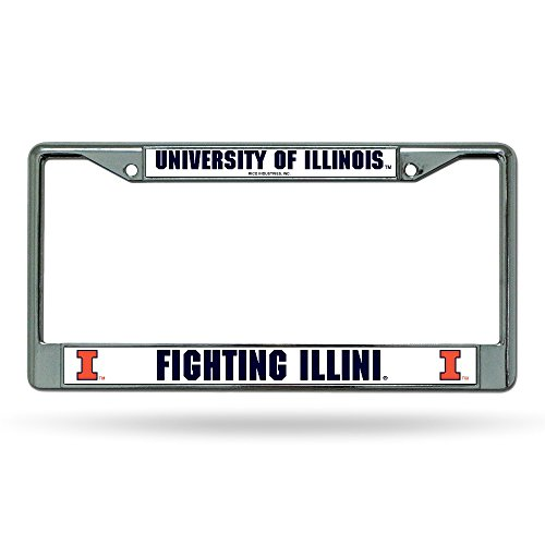 Rico Illinois Illini Metal Chrome Frame License Plate Tag Cover University of