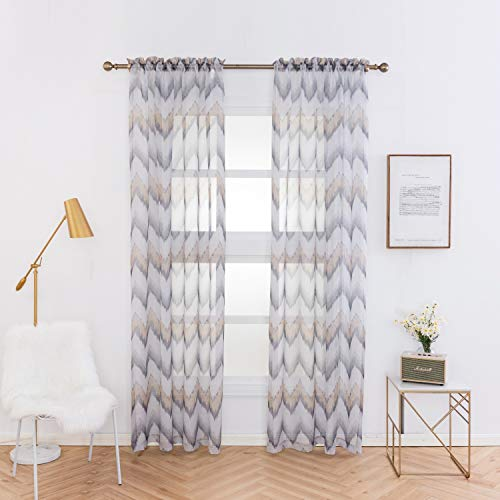Anjee Chevron Design Print Sheer Curtain Panels 84 Inches Long, Elegant Bedroom Sheer Voile Curtains Rod Pocket Drapes, 2 Panels, 52 Inches W x 84 Inches L, Gray (Panels Curtain Sheer Print)
