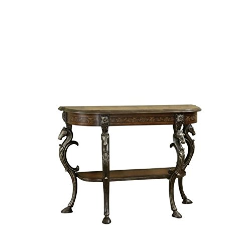 - Powell Masterpiece Floral Demilune Console Table with Horse Head and Hoofed-Foot Cast Legs and Display Shelf