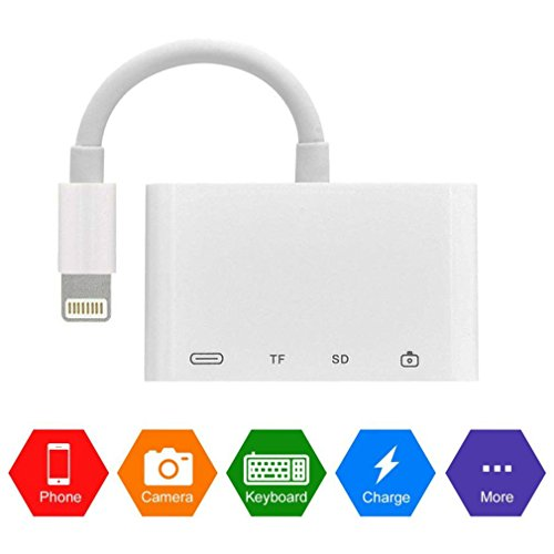 Conlesy SD Card Reader, 4 in 1 Lightning to USB Camera SD/TF Card Reader for iPhone and iPad, Trail Game Camera SD Card Reader (White) by Conlesy (Image #1)