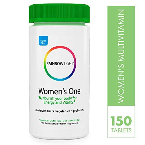 Rainbow Light - Women's One Multivitamin - Supports Energy and Vitality, Organic Daily Vitamin and Mineral Supplement, Biotin, Gluten-Free, Vegetarian - 150 Tablets