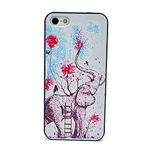 LZXAnimal Elephant Flowers Pattern Hard Case for iPhone 5/5S
