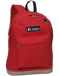 Everest Luggage Suede Bottom Backpack, Red, Large