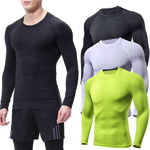 Lavento Men's 3 Pack Compression Shirts Crewneck