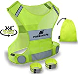 No.1 Reflective Vest Running Gear - YOUR BEST CHOICE TO STAY VISIBLE UltraLight & Comfy Motorcycle Reflective Vest - Large Pocket & Adjustable Waist - Safety Vest In 6 Sizes (Small, Yellow - Vest Set)
