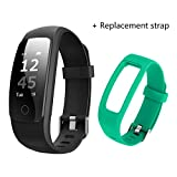 ID107 Plus HR Bluetooth Smart Bracelet Smartband Heart Rate Monitor Multi sports Cardio Fitness Guided Breathing Tracker (Black + green extra strap)
