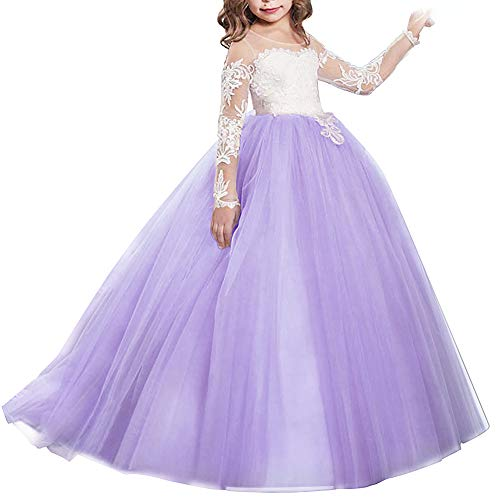 lower Lace Princess Christmas First Communion Tulle Dress Kids Long Pageant Gown Floor Length Prom Dance Evening #I Long Sleeve Light Purple 4-5T ()