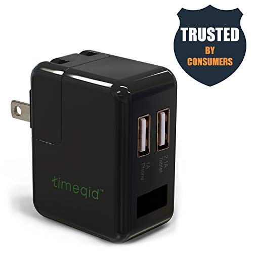 Timeqid Hidden Camera Charger | Free 32 GB Memory Card – with/Without WiFi – USB Charger Camera – Wall Charger Camera – Nanny Camera – Black – No Audio