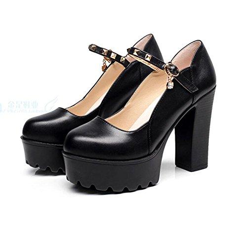 Mujer Alto Tacón Remache Abajo Para Boca 11cm Grueso Redonda De Black Plataforma Zapatos Baja Banquete Cabeza vSxnq5Iw7E