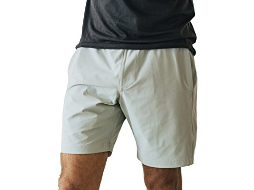 OLIVERS Apparel, Mens Water Repellent, 4 Way Stretch, All Over Short. Perfect for Running, Yoga, and Weightlifting (Slate, XXSmall)