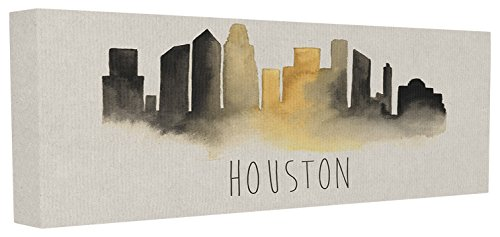 Stupell Home Décor Houston Skyline Silhouette Stretched Canvas Wall Art, 10 x 1.5 x 24, Proudly Made in USA
