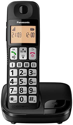 Panasonic KX-TGE310SPB- Teléfono Fijo Inalámbrico (LCD Grande, Teclas Grandes, Agenda de 50 Números, Bloqueo de Llamadas…