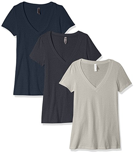 Clementine Women's Petite Plus Deep V Neck Tee (Pack of 3), Charcoal Grey/Dark Heather Gray/Midnight Navy, - Charcoal Heather Deep