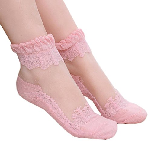 Pink Lace Corset (Tenworld Women Girl Ultrathin Transparent Crystal Lace Elastic Short Socks (Pink))