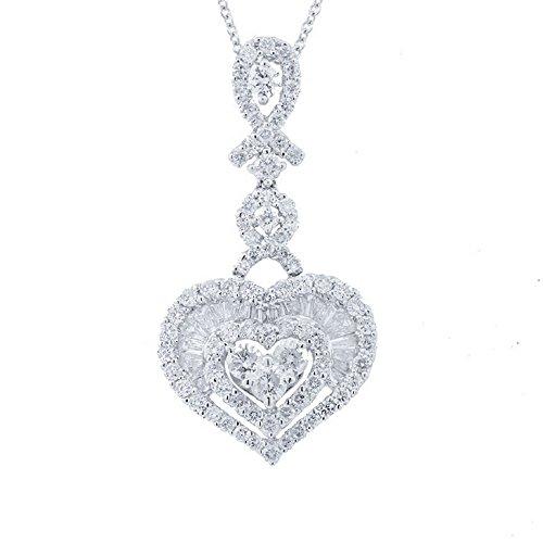 1.59ct 18k White Gold Diamond Heart Pendant Necklace