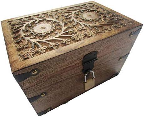 Caja del tesoro auténtica de madera, con cerradura, baúl de madera: Amazon.es: Hogar