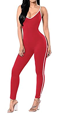 Jescakoo Women's Spaghetti Strap Low-cut Back Jumpsuit Solid Color