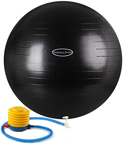BalanceFrom Anti-Burst and Slip Resistant Fitness Ball with Pump, Black (75cm)