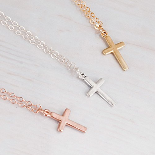 Dainty Small Cross Necklace in Sterling Silver, Gold and Rose Gold - Designer Handmade Simple Christian Gift Idea