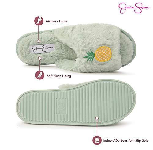 Jessica Simpson Womens Plush Faux Fur Fuzzy Slide On Open Toe Slipper with Memory Foam