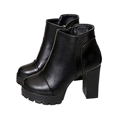 Lateral tac Mujer Martin Boots Zapatos de Cremallera Mujer Tacones Casuales Zapatos Chunky PYBq6cOwCx
