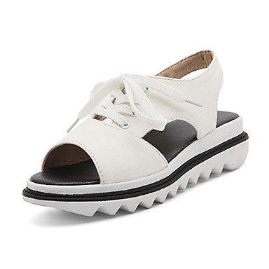 Sandalias Primavera Verano Otoño Slingback PU Oficina & Carrera parte & traje de noche Wedge Heel Lace-up White