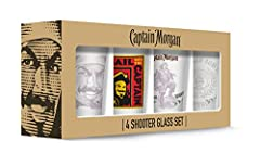These Captain Morgan shot glasses bring an element of fun to your next social gathering. Durable glass construction ensures lasting use. Includes 4, 2 Ounce shot glasses. Dishwasher safe. Meets all safety standards and is officially licensed....