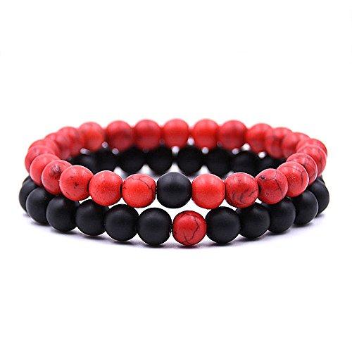Holattio Men Women 8mm Tiger Eye Agate Howlite Stone Beads Bracelet Elastic Natural Energy Stone Yoga Bracelet Bangle ()