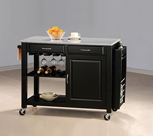 Kitchen Cart with Granite Top Black - Toscana French Wine