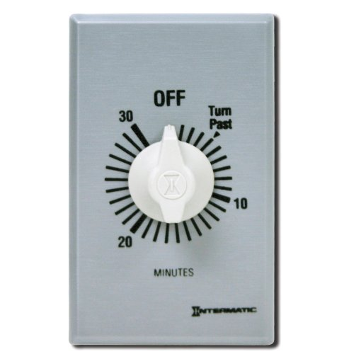 Intermatic FF30MC 30-Minute Spring Wound Countdown Wall Timer, Brushed Metal