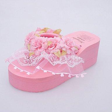 Sandalias Primavera comodidad talón plano exterior de PU Blushing Pink