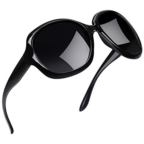Lady Fashion Eyewear - Joopin Oversized Fashion Sunglasses for Women, UV400 Big Frame Womens Sunglasses Polarized Ladies Sunglasses H9045 (Fashion Black)